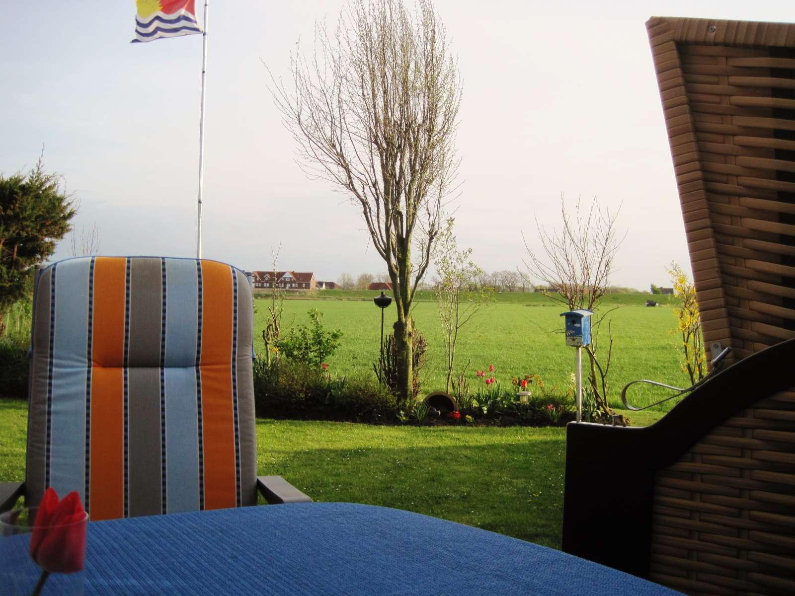 Ferienhaus Harlesiel Blick von der Terrasse